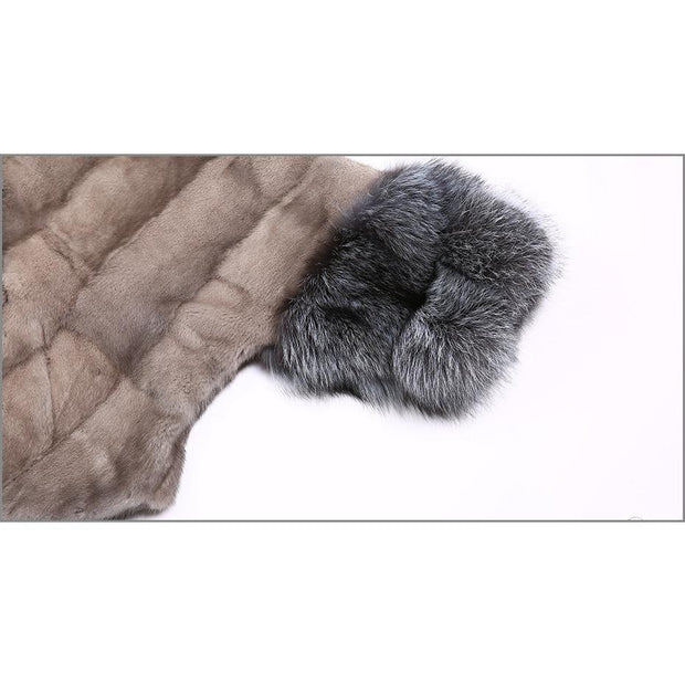 Freda - Mink Fur Coat with Silver Fox Fur Collar and Cuffs -