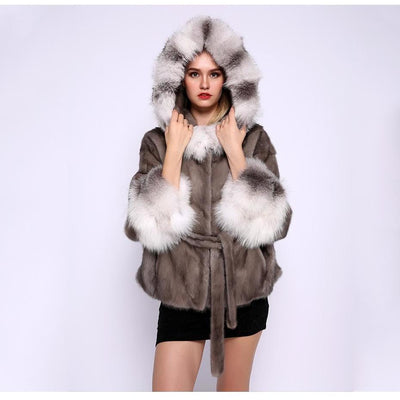 Freda - Mink Fur Coat with White Fox Fur Collar and Cuffs -