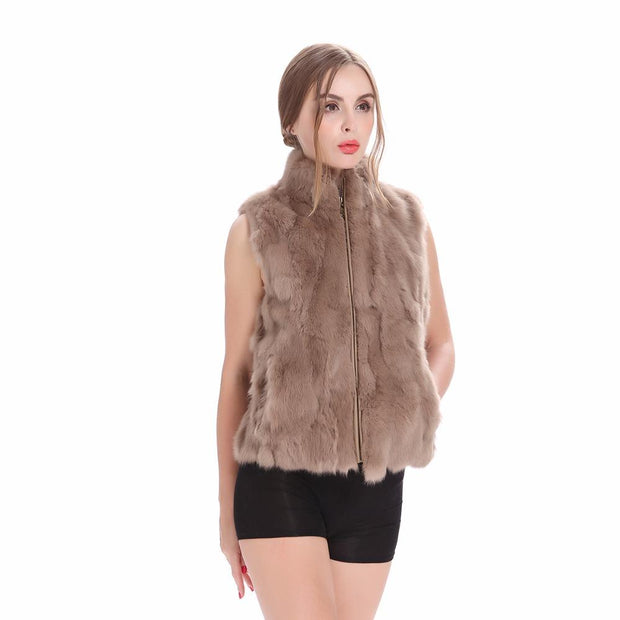 Gemma- Natural Rabbit Fur Gilet Khaki - women's vests