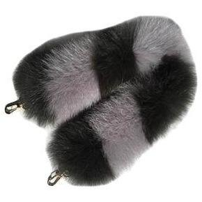 Genuine Fox Fur Handbag Handle Replacement - Black/Gray -