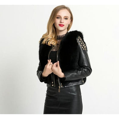 GIA - Genuine Leather and Fox Fur Coat - Women Coats