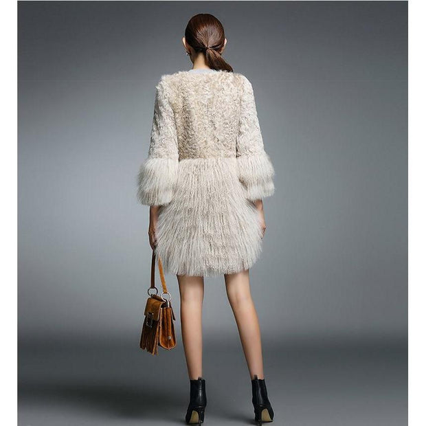 GINES - Beige Lamb Fur and Mongolian Coat - Women's winter