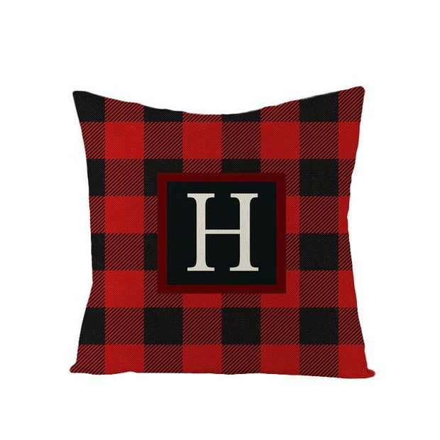 Gingham Alphabet Decorative Pillow Cover - 18 x 18 / Letter