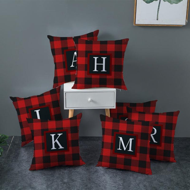 Gingham Alphabet Decorative Pillow Cover - Cushions and