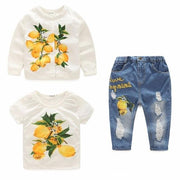 Girls Denim Lemon Print Outfit Set 3 Piece - 3pcs 2 / 24M -