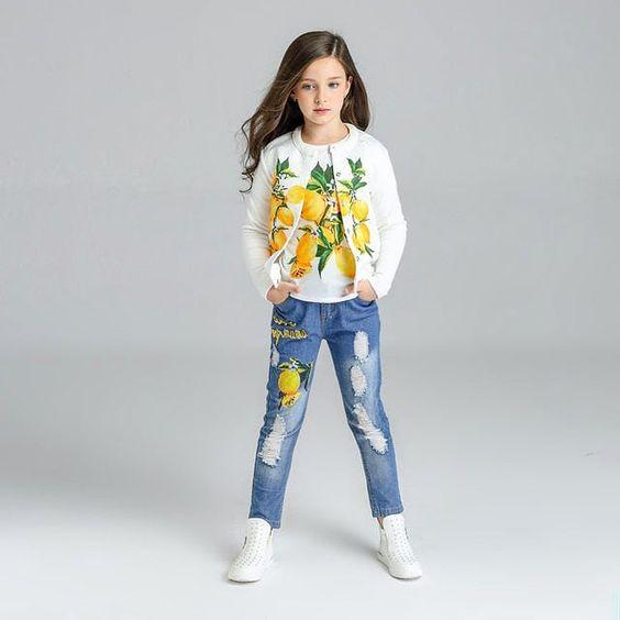 Girls Denim Lemon Print Outfit Set 3 Piece - Girls Outfits