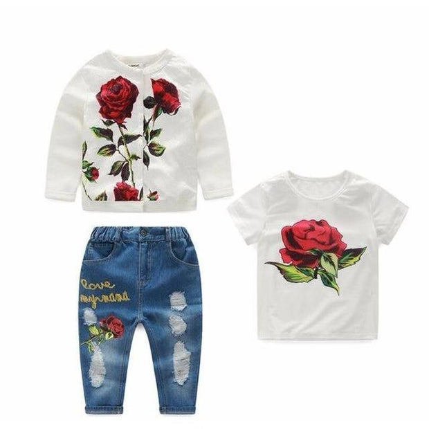 Girls Denim Rose Outfit Set 3 Piece - 3pcs 1 / 24M - Girls