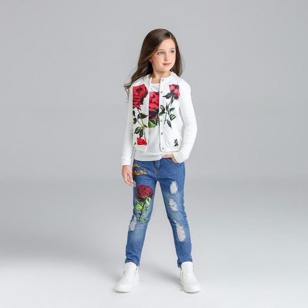 Girls Denim Rose Outfit Set 3 Piece - Girls Outfits