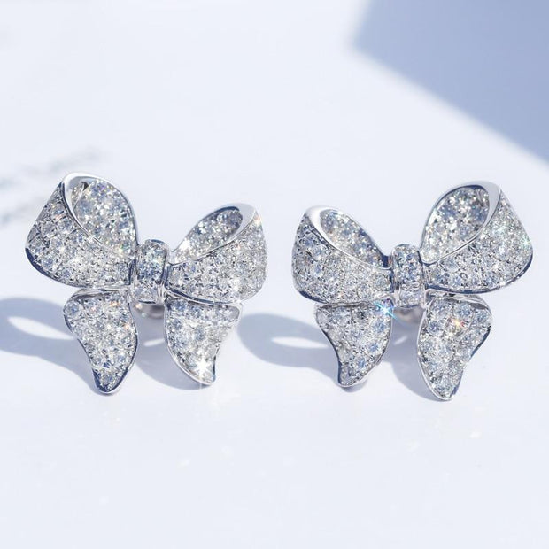 Girls Jewelry - Sterling Silver and Crystal Bow Earring