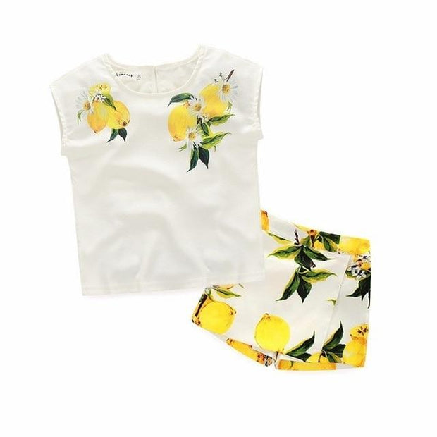 Girls Lemon Print Outfit Set - 2pcs / 24M - Girls Outfits