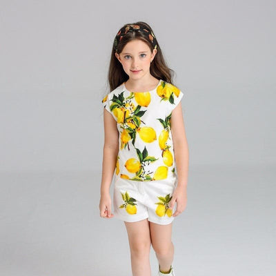Girls Lemon Print Outfit Set - Girls Outfits