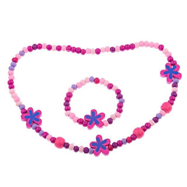 Girls' Multi-color Wooden Bead Jewelry Necklace and Bracelet