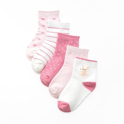 Girls Pink Themed Socks - 5 Pairs - 5 / L 5 to 8Years -