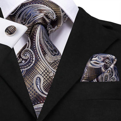 Gold and Silver Paisley Tie - Men's Ties