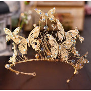 Gold Butterfly Headband with Matching Earrings Set - Hair