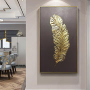 Golden Feather Modern Abstract 3D Art - 40X80cm / Brown -