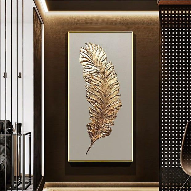 Golden Feather Modern Abstract 3D Art - 40X80cm / White -