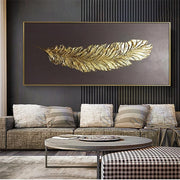 Golden Feather Modern Abstract 3D Art - Wall Art