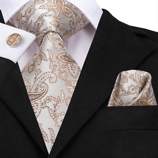 Gray and Gold Paisley Tie - Men's Ties
