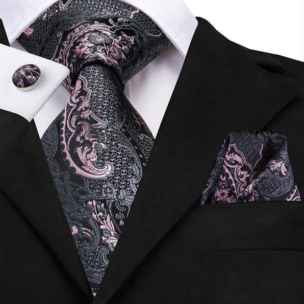 Gray and Pink Paisley Tie - Men's Ties