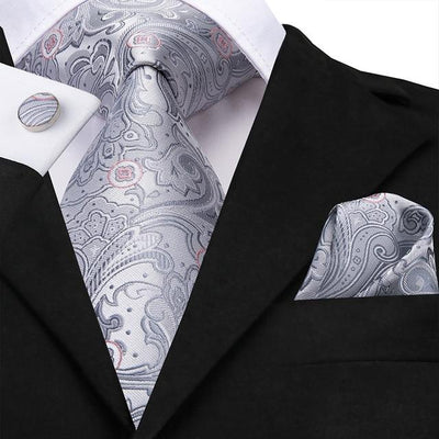 Gray Paisley Tie - Men's Ties