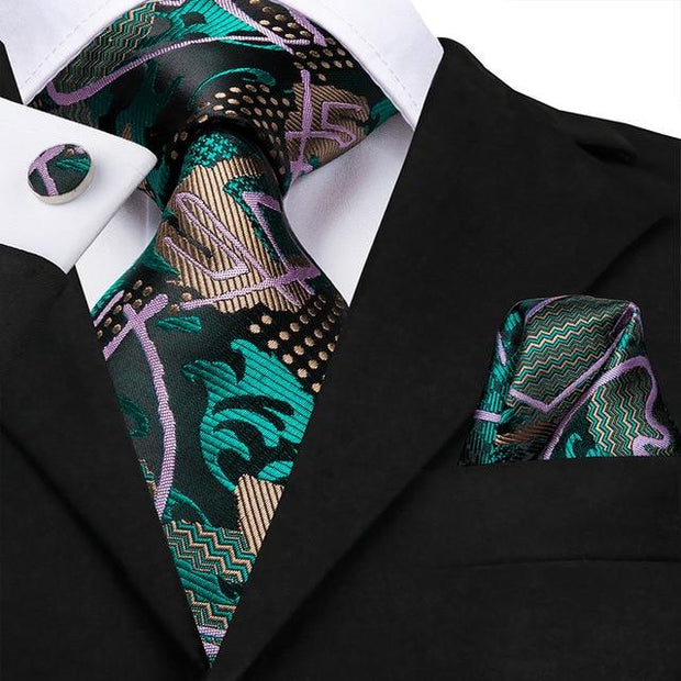 Green Gold and Lilac Tie - Men's Ties