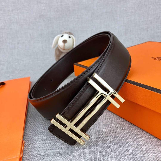 H au Carre Belt Buckle with Leather Strap 38 mm - 120CM /
