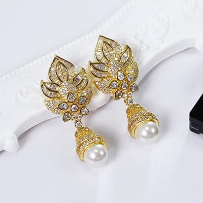 Handmade Gold Plated Pearl and Crystal Embellished Earrings
