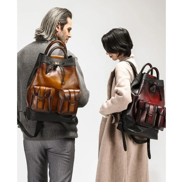 Handmade Patina 100% Genuine Leather Backpack - Tan - men's