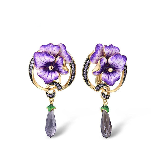 Handmade Sterling Silver Purple Flower Drop Earrings -