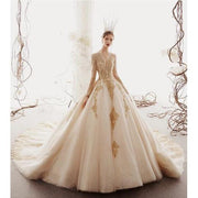 HARLEIGH - Gold Applique Detail Wedding Dress - PICTURE