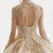 HARLEIGH - Gold Applique Detail Wedding Dress - wedding