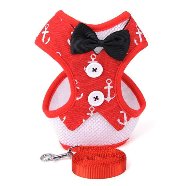 HARNESS VEST & LEASH - Nautical Red / S - Pet harnesses