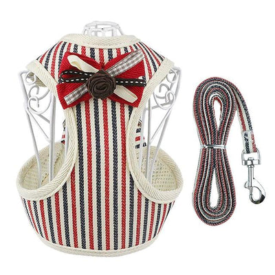 HARNESS VEST & LEASH - RedStripe / L - Pet harnesses