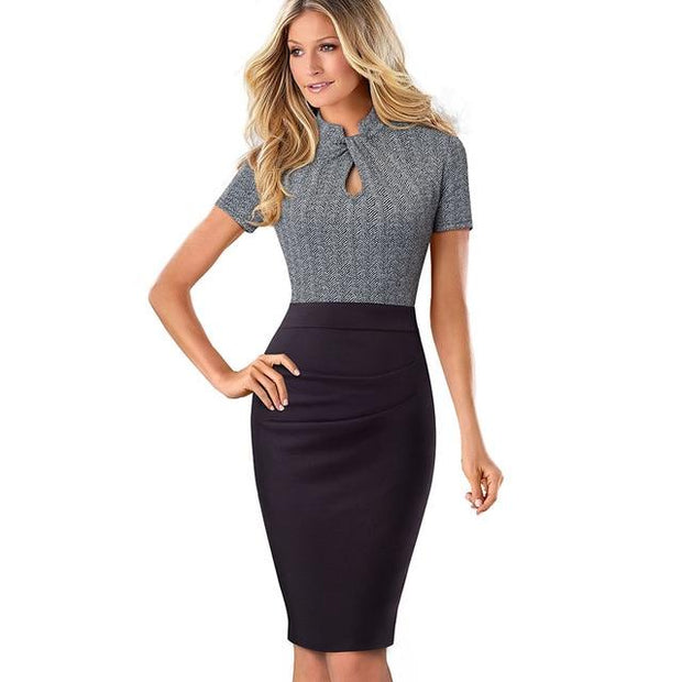 HOLLAND - Contrast Color Sheath Dress - Black and Gray / L -