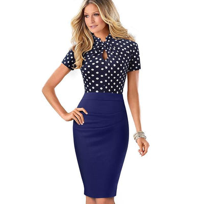 HOLLAND - Contrast Color Sheath Dress - Polka dots / L -