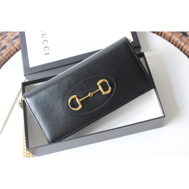Horsebit 1955 wallet with chain - Black Leather - Women's