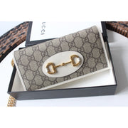 Horsebit 1955 wallet with chain - GG Supreme White - Women's