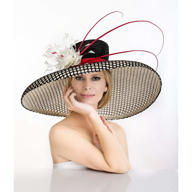 NICE - Mesh Sinamay Hat with Feathers and Quills