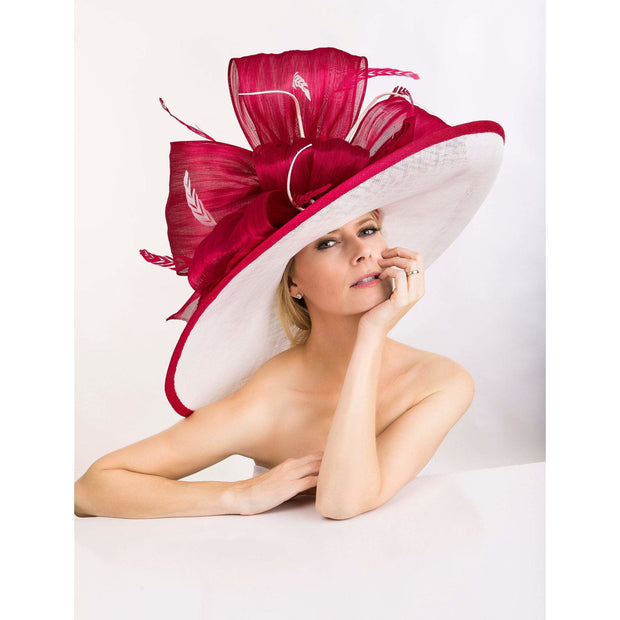 ELLIS - Sinamy Hat with Large Raspberry Red Silk Abaca Large Bow