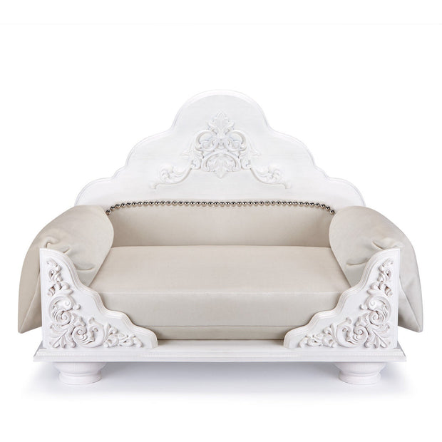 JACOB - Natural Wood with Decorative Embellishments Pet Bed, White