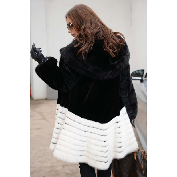 Leslie - Black and White Mink Fur Coat with Hood