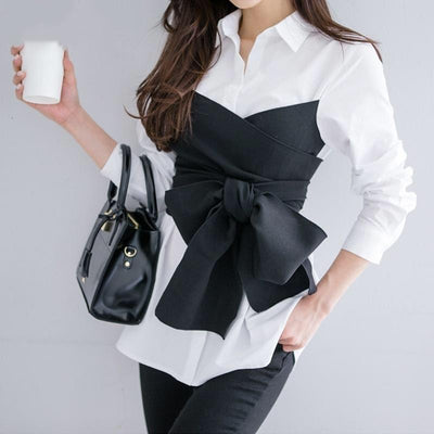 Isabelle - Bow Waist Mock Two Piece Blouse - women's