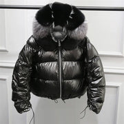 JAFEY - Down Filled Jacket With Fox Fur Trim on the Hood. -