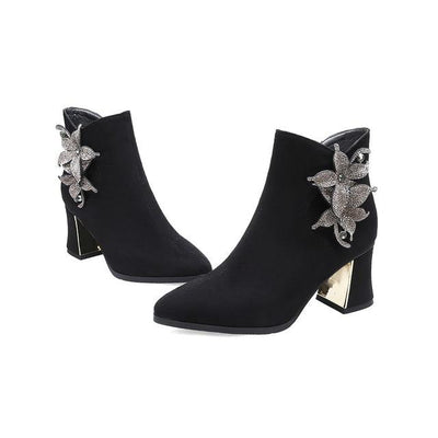 Jamie Crystal Flower Ankle Boot - Black / 5 - women's boots