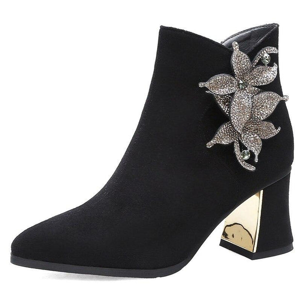 Jamie Crystal Flower Ankle Boot - women's boots