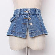 JESSICA - Denim Mini Skirt Belt - blue / L - women's