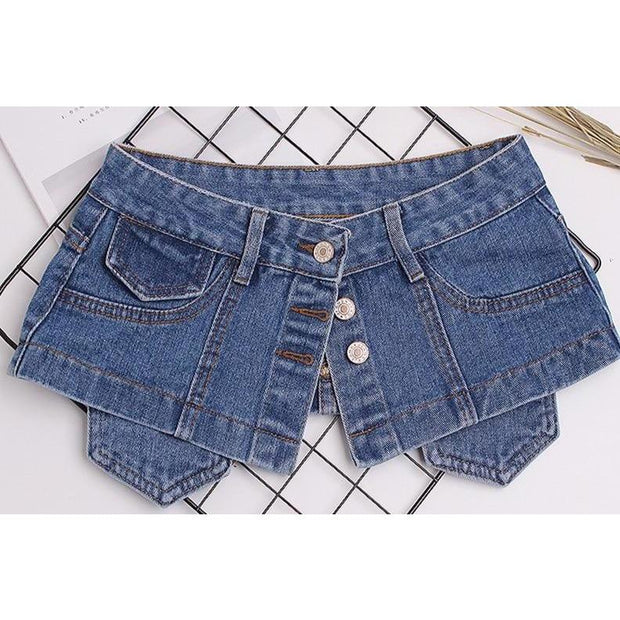 JESSICA - Denim Mini Skirt Belt - women's clothing
