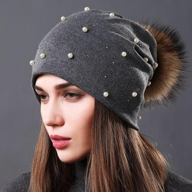 Julia Crystal and Pearl-Embellished Hat-Dark Gray - womens