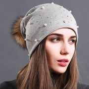 Julia Crystal and Pearl-Embellished Hat-Light Gray - womens